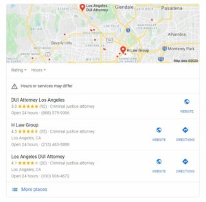 dui attorney map listings screenshot in Google
