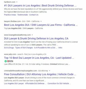 screenshot of dui attorney search results