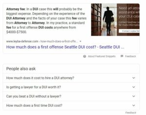 featured snippet for how much does a dui attorney cost