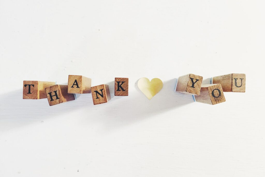 thank you spelled out in blocks